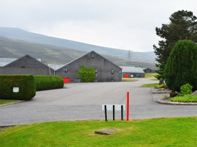 Glenfarclas: Hills and grey buildings