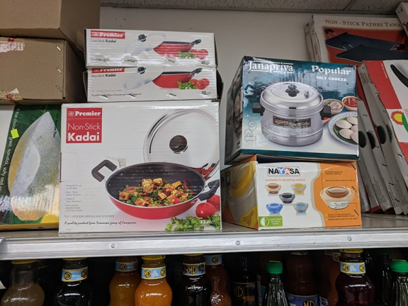 Non-stick kadais and iddly-makers.