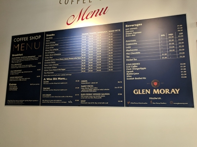 Glen Moray: Menu
