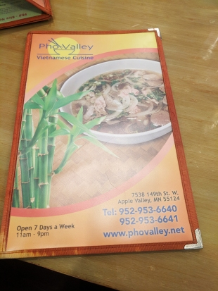 Pho Valley: Menu