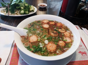 The broth in the Hu Tieu and Mi is the same---chicken broth here---it's the noodle type that varies.