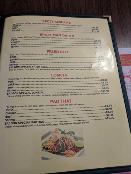Saigon Palace: Chinese dishes, Pad Thai