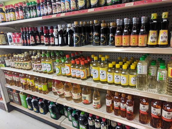 Hana Market: Sesame oil, vinegar etc.