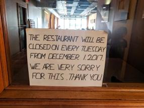 Peninsula: Closed on Tuesdays