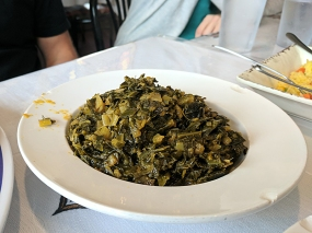 Braised collard greens to ward off the meat sweats with.