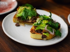 Martina: Grilled Beef Tongue Bruschetta