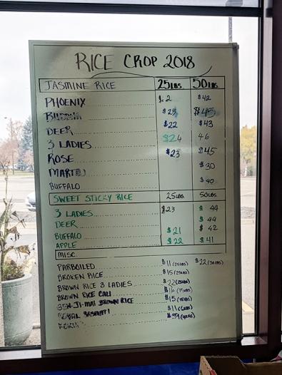 Viet Hoa Lao Market: Rice list