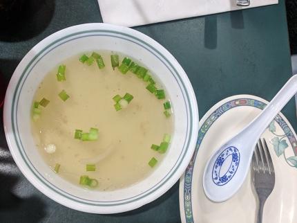 A bowl of stock/soup comes alongside.