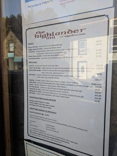 The Highlander Inn: Menu