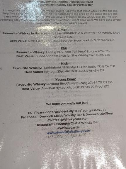 Dornoch Castle Whisky Bar, Staff Favourites