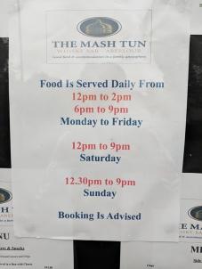 The Mash Tun: Hours