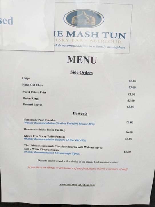 The Mash Tun: Menu, sides