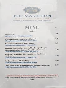 The Mash Tun: Menu, starters