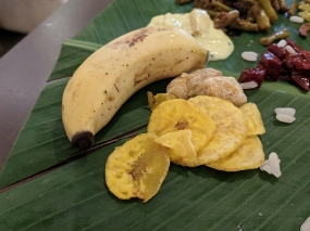 banana chips, banana with jaggery and a small banana that is meant to be mashed up with the payasam at the end, I think.