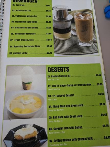 pho everest, beverages, desserts