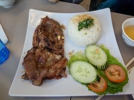 pho everest, grilled pork plate