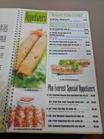 pho everest, menu-appetizers