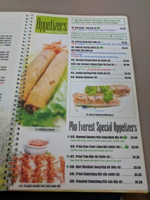 pho everest, menu-appetizers