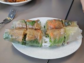 pho everest, spring rolls, cut