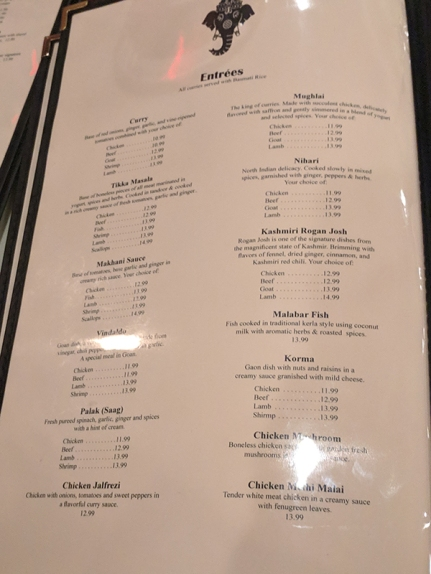 Darbar India Grill, Apple Valley, Entrees