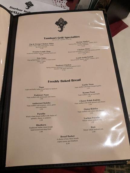 Darbar India Grill, Apple Valley, Tandoor, breads