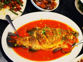 This is the barramundi with hot bean sauce.