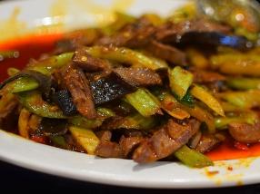 Grand Szechuan 2018, Quick-fried pork intestines, close-up