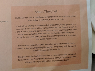 Laksamania, About the Chef