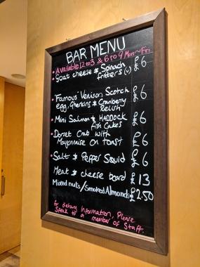 SMWS London, Bar menu