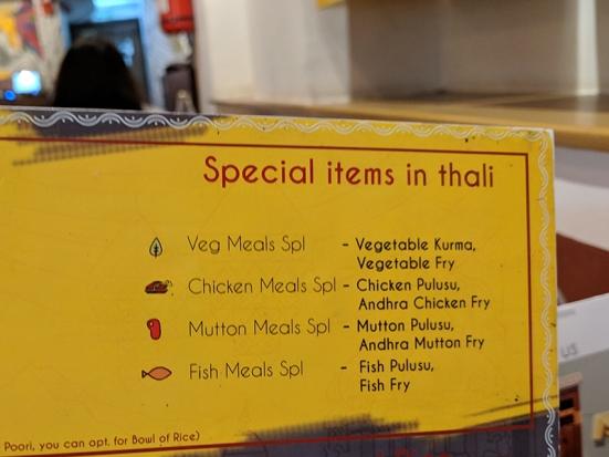 Bagundi, Special thalis