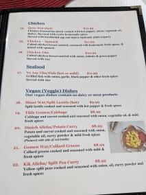 Ghebre's, Menu, Chicken, Veggies