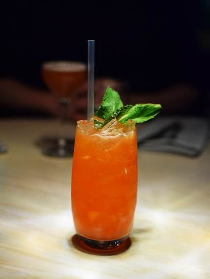Raspberry syrup, fino sherry, gin, lemon juice, ginger beer