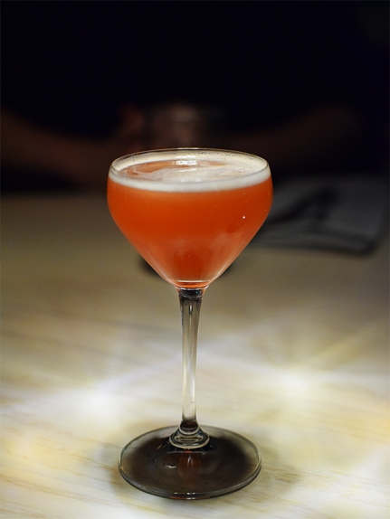 Knob Creek, Dolin Dry vermouth, house-made grenadine, lemon juice, orange bitters