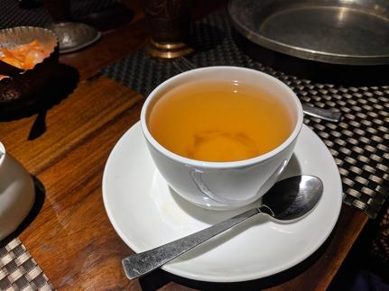 The saffron-laced Kashmiri tea.