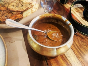 A dal made with a mix of black urad dal, channa dal and rajma (red beans), this was bloody good.