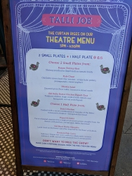 Talli Joe, Theatre Menu