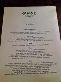Grand Cafe, By the glass