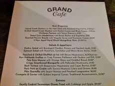 Grand Cafe, First and second courses
