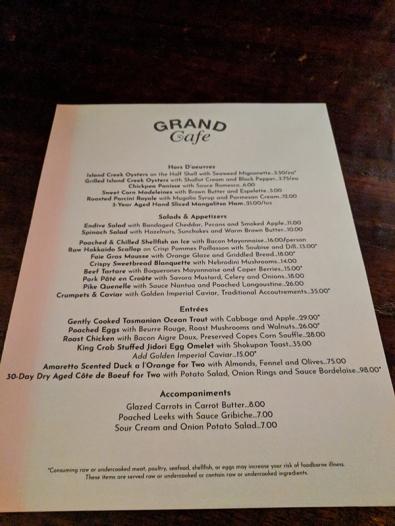 Grand Cafe, Menu
