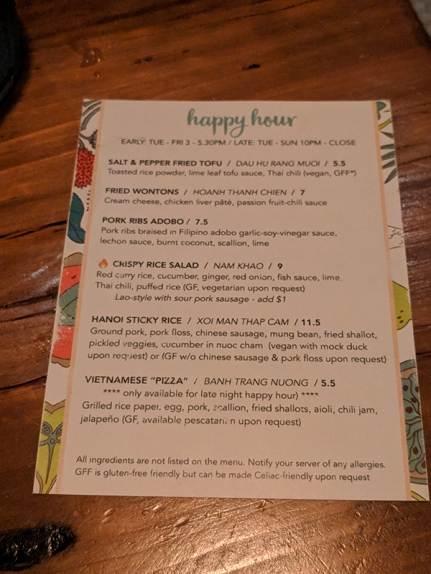 Hai Hai, Happy Hour Menu