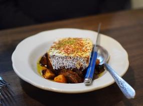 Hyacinth, Fried polenta, lamb shank ragu