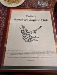 Ranchero Supper Club, Menu