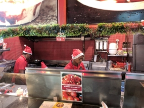 Alas, the Christmas kitsch extends to servers all over the city being clad in red and silly caps.