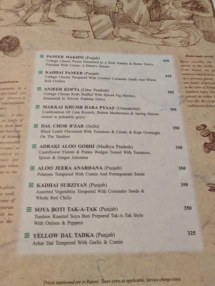 Chor Bizarre, Menu, vegetarian main courses