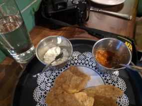 Both the epazote crema and the salsa were very good.