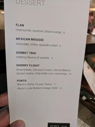 Popol Vuh, Menu, Dessert