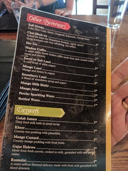 Bay Leaf, Soft drinks, desserts