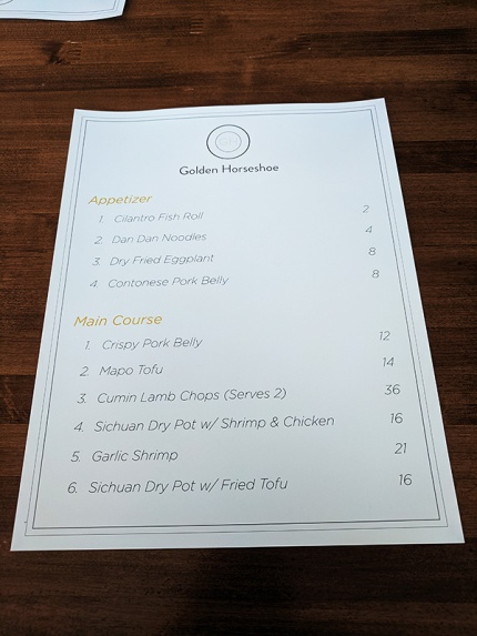 Golden Horseshoe, Menu