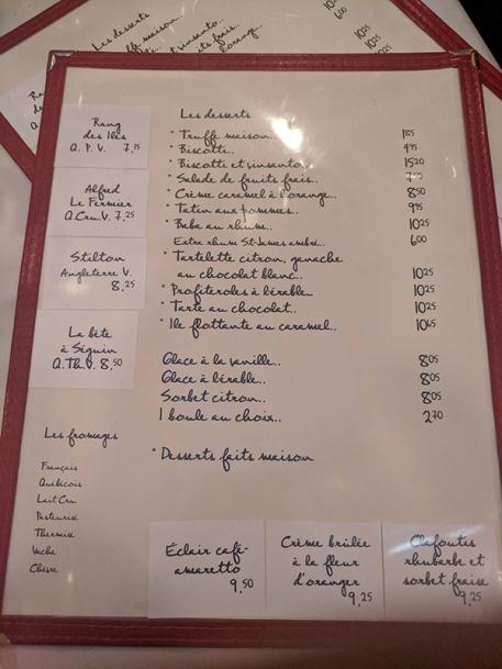 L'Express, Menu, Desserts