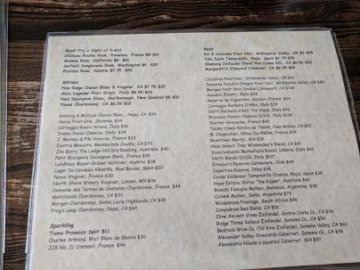 Crooked Spoon, Wine list